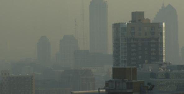 smog above city