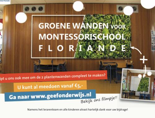 Help Montessori Floriande aan twee groene wanden!