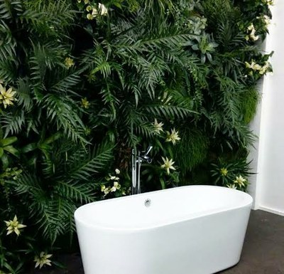 green wall in bathroom
